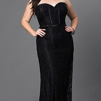 Long Lace Formal Evening Dress with Corset Back