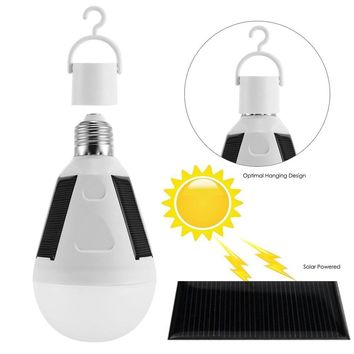 LED Solar Light Bulb 7W E27 86-265V Tent Camping Fishing Solar Emergency Bulb Lamp Rechargeable Lightweight & Multi-Functional
