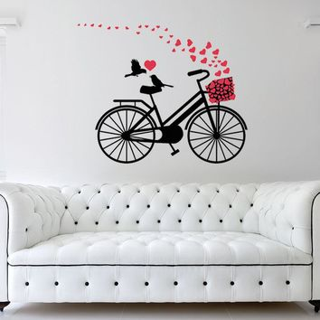 Hearts Bicycle Wall Decal