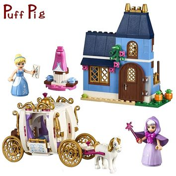 398PCS Princess Cinderella Carriage Car Model Building Blocks Bricks Compatible Legoed Friends Figures House Toys For Girls