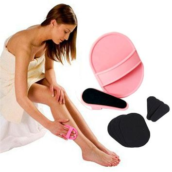 Portable Epilator Pad Smooth Legs Skin Pads Arm Face Upper Lip Hair Removal Remover Set Exfoliator Face Hair Shaving Brush