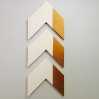 White and gold geometric chevron arrow wall art Home Decor