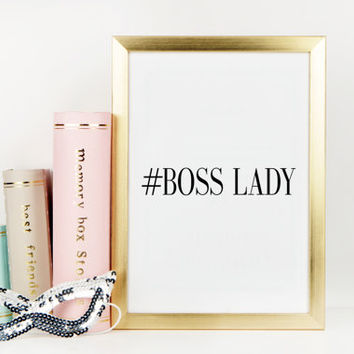 PRINTABLE Art,BOSS LADY,Hustle,Office Wall Art,Office Decor,Office Poster,Gift For Her,Like A Boss,Boss Print,Hustle Boss Lady,Typography