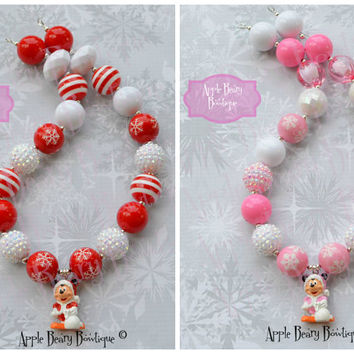 Christmas Minnie Chunky Necklace Minnie mouse necklace Winter Necklace Minnie mouse chunky necklace Minnie Mouse bubblegum necklace