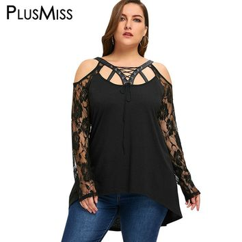 PlusMiss Plus Size 5XL Halloween Cold Shoulder Lace Up Tops Women Clothing Sexy Lace Crochet Sheer Mesh Blouse Shirt Big Size
