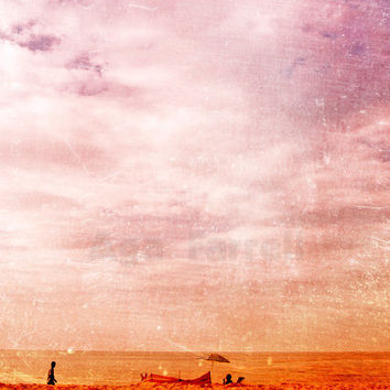 Retro Art Print, Beach Art - Sun Searching - Retro Photograph, Sunny Day, Tangerine Orange Sand, Wisteria, Purple Sky, 8x12