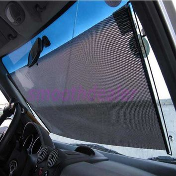 Black Car Auto Window Roll Blind Sunshade Windshield Sun Shield Visor 58 x125cm