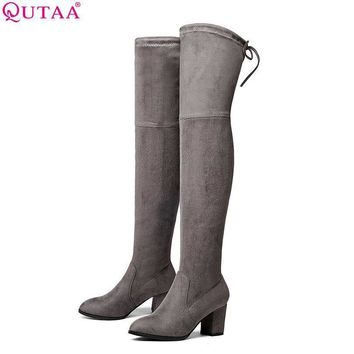 QUTAA 2017 Ladies Autumn/Spring Shoes Square High Heel Women Over The Knee Boots Scrub