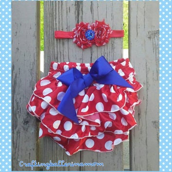 4th of July Polka Dot Red Bloomers Headband Vintage - Baby Girl 4th of July Outfit - Photo Prop - Diaper Cover - Headband - First Birthday
