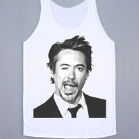 Robert Downey JR Tank Top Robert Downey Wink Shirt Women Tank Top Tunic T-Shirt Sleeveless Singlet White Shirt Vest Women T-Shirt Size M,L