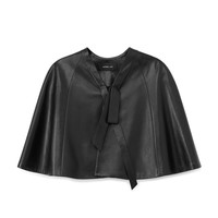 Derek Lam Leather Capelet - Black Leather Cape - ShopBAZAAR