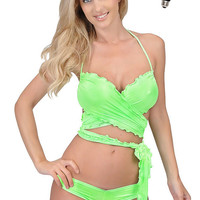 Hot Sexy Lingerie Neon Green Butterfly Wrap Top and Hot Pants