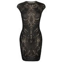 Alexander McQueen : BLACK ENGINEERED LACE MINI-DRESS