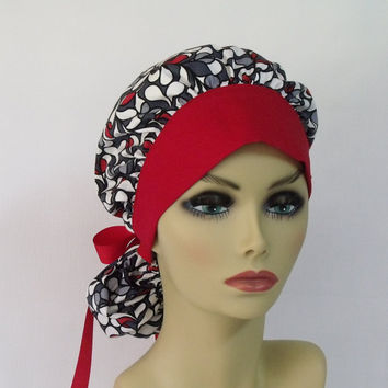 Women's Bouffant Scrub Hat or Surgical  Cap Red, White, Grey,