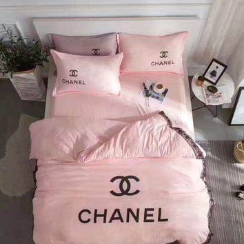 Day-First™ Chanel Duvet cover Blanket Quilt coverlet Pillow shams 4 PC Bedding SET