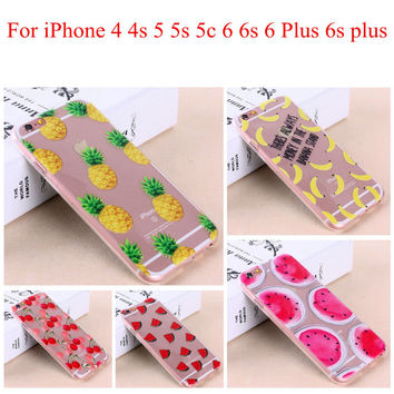 Soft Sillicon phone cover Fruit Pineapple Cherry Banana Clear Thin Case Cover For Apple iPhone 4 4S 5 5S 5C 6 6S 6Plus 6s Plus