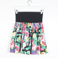 Vintage 80s Skirt Ultra High Waisted Skirt Floral Print Skater Skirt 1980s Skirt Wide Elastic Waist New Wave Black Rainbow Skirt S M Medium