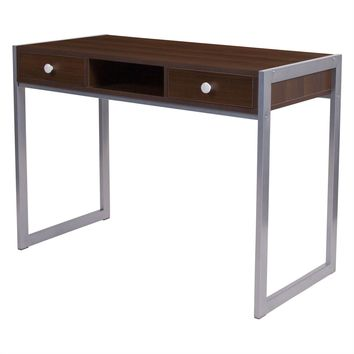 Modern Dark Brown Wood Writing Table Computer Desk with Square Metal Legs