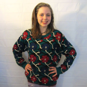 Awesome 80s Fun Over-Sized Flower Sweater