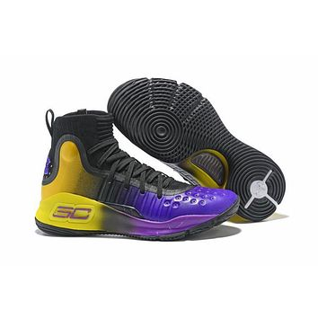 Under Armour Ua Curry 4 Black/purple/yellow Basketball Shoes   Best Deal Online