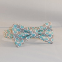 Gray and Mint Green Boy's Bow Tie With Adjustable Hook and Loop