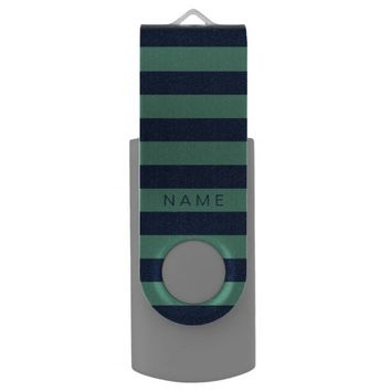 Personalized Green & Navy Blue Striped Flash Drive