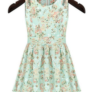 Cutout Shoulder Floral Mini Dress