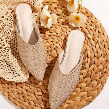 Point Toe Woven Detail Flat Mules