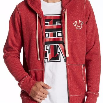 New with Tag - True Religion Big T Ruby Red Basic Men's Zip Up Hoodie Size XL
