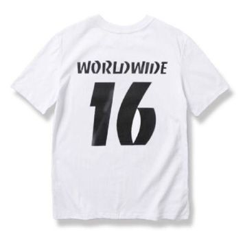 DCCKR2 Cotton T-shirt letter 16 printing short-sleeved men and women with short T shirt
