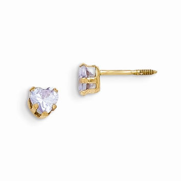 14k Yellow Gold Violet C.Z Heart Earrings