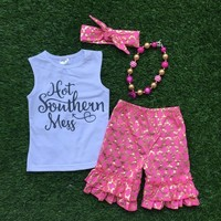 new   baby Girls Summer clothes boutique clothing girls  southern mess outfits with necklace and headband