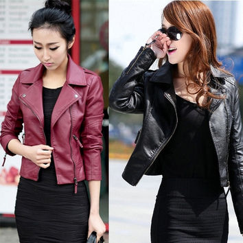 GETUBACK Brand Spring Women Leather Jacket Red Black PU Plus Size Jackets