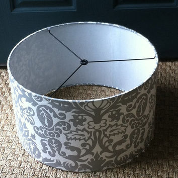 "Large drum lamp shade or pendant light shade 17"" X 10"" silver / grey and white in Premier Prints Amsterdam in Storm"