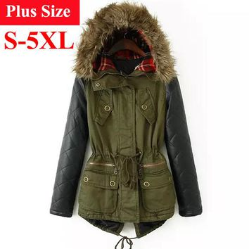 Great Cotton Padded Coat with Fur Trimmed Hood