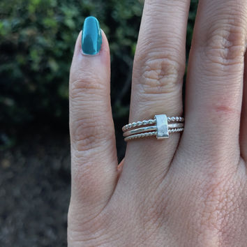 Silver Ring Trio Stack - Ready to Ship - Size 6
