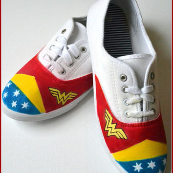 Painted Shoes, Wonder Woman Shoes, Custom Painted Shoes, Womens Painted Sneakers, Made to Order- Size 10 Shoe, Womens Sneakers, Wonder Woman