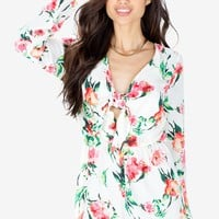 Bright Bloom Tie Front Romper