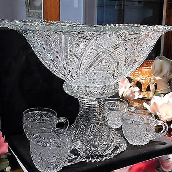 1890s EAPG Punch Bowl Pedestal Stand Cups Set Indiana 123 Panelled Daisies  Finecut Antique Victorian Glass Wedding Table Cottage Home Decor