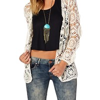 Netted Floral Crochet Wrap