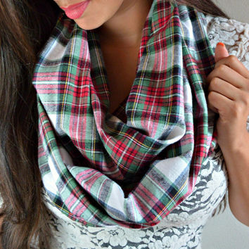 Red and Green Plaid Flannel Infinity Scarf- Plaid Scarves