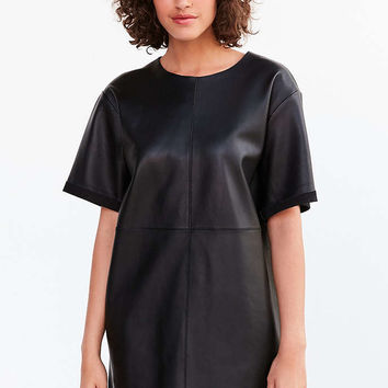 Silence + Noise Leather Boxy Mini T-Shirt Dress - Urban Outfitters