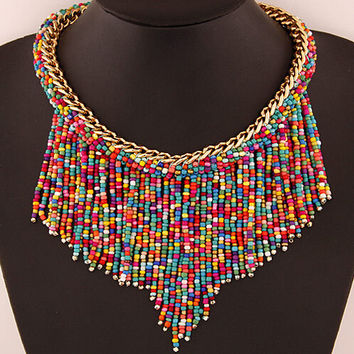 New 2015 Fashion Bohemian Bead Chain Necklaces fashion necklaces for women collares accessories Body Jewelry