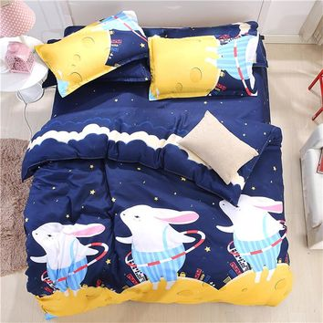 Sookie Cartoon 3pcs King Bedding Sets Cute Rabbits Starry Sky Printed Single Size for Children Teen 1 Duvet Cover 2 Pillowcases