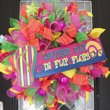 Summer Flip Flop Wreath, Flip Flop Decoration, Door Hanger, Front Door Wreath, Wreath for Door