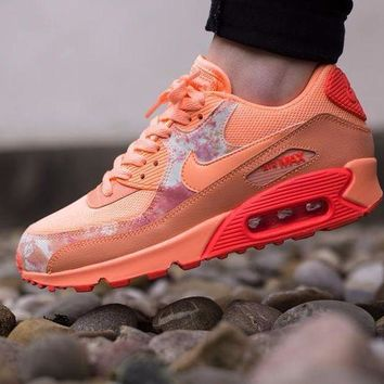 DCCKU62 Sale Nike Air Max WMNS 90 Print Sunset Glow Hot Lava Running Shoes Sport Shoes 724980-800