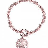 """Personalized Initials .8"""" Bracelet Sterling Silver w/ Rose Gold"""