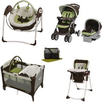 Graco Go Green Baby Gear Bundle, Stroller Travel System, Play Yard, Swing, and High Chair