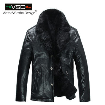 High Quality Fashion Winter Men's Coats Imitation Leather Jacket  Mink fur jacket Leather Jackets Men