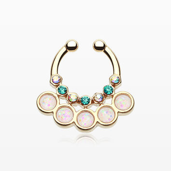 Golden Opal Aureole Gemina Fake Septum Clip-On Ring